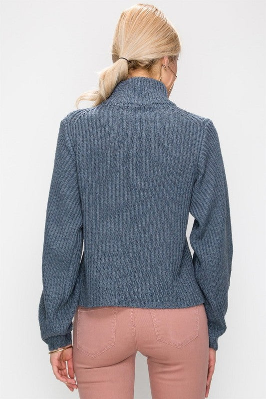 Hole The Phone Turtleneck Sweater in Smokey Blue
