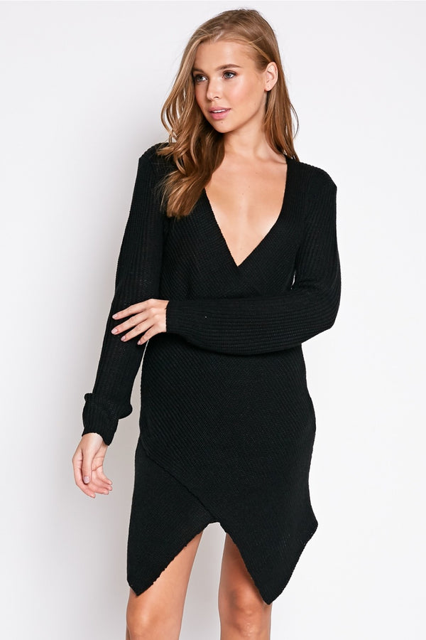 Autumn Chill Sweater Dress in Black | Necessary Clothing