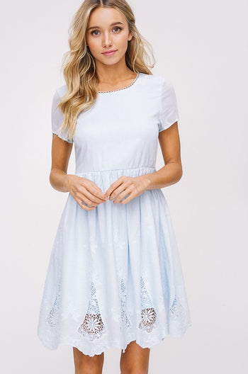 Doily Adorable Short Sleeve Dress in Light Blue | Necessary Clothing