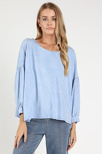 Channel Islands Boat Neck Top in Blue | Necessary Clothing