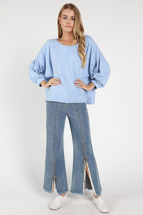 Channel Islands Boat Neck Top in Blue