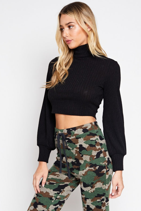 Short Ribs Turtleneck Crop Top in Black | Necessary Clothing