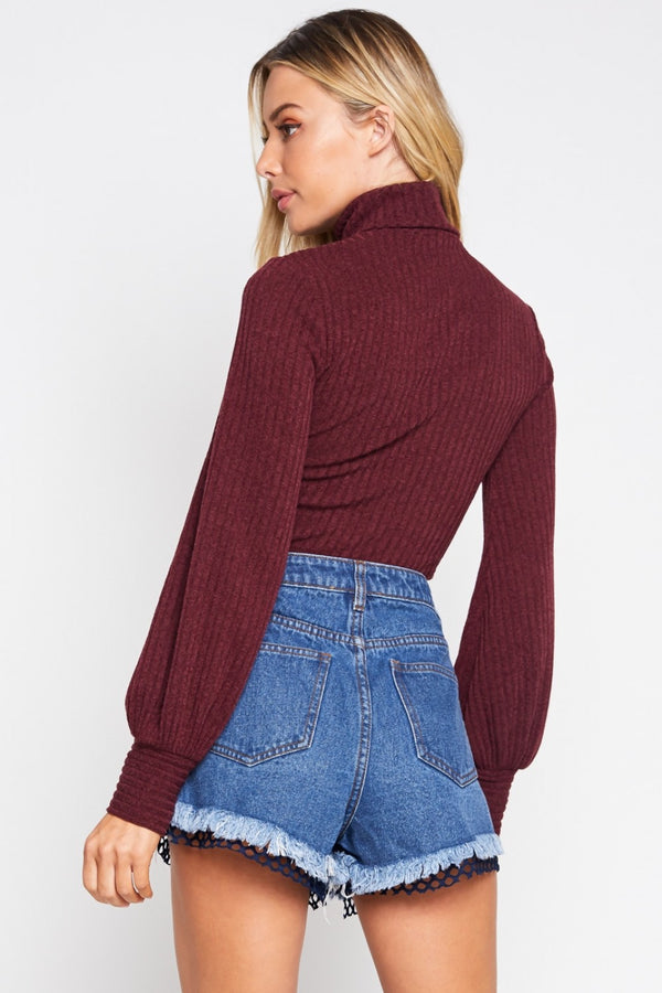 Short Ribs Turtleneck Crop Top in Wine | Necessary Clothing