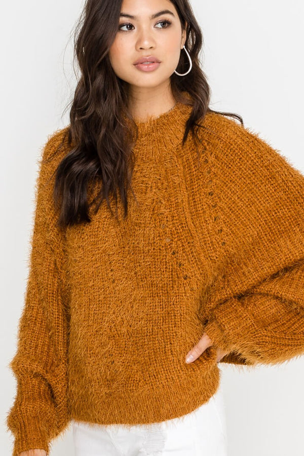 Call The Fuzz Sweater in Camel | Necessary Clothing