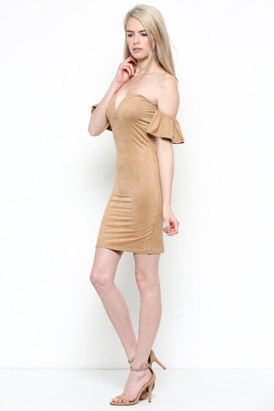 Dark Magic Cold Shoulder Dress in Camel | Necessary Clothing