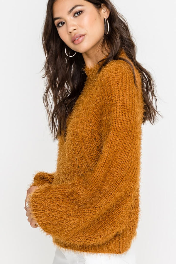 Call The Fuzz Sweater in Camel
