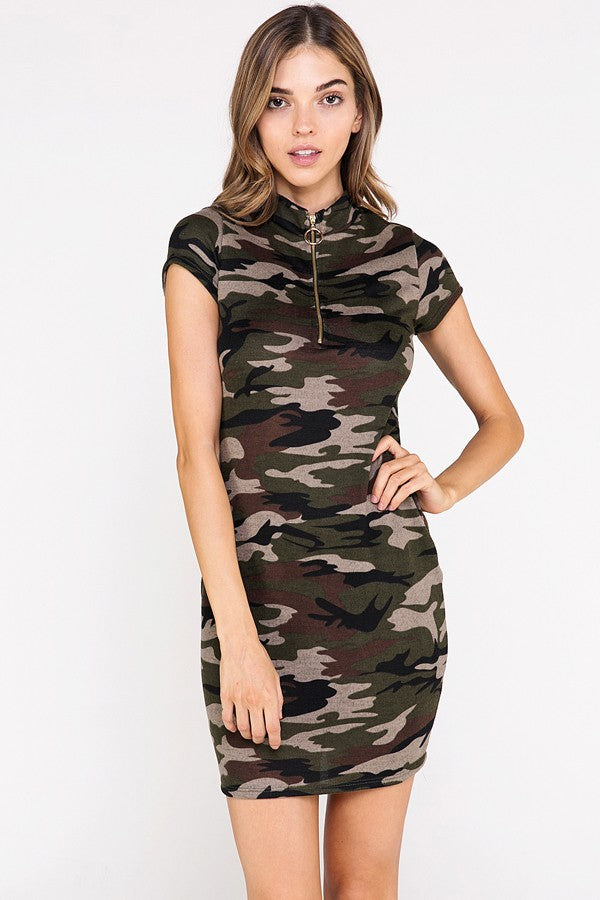 Call Me Camo Mini Dress in Green | Necessary Clothing