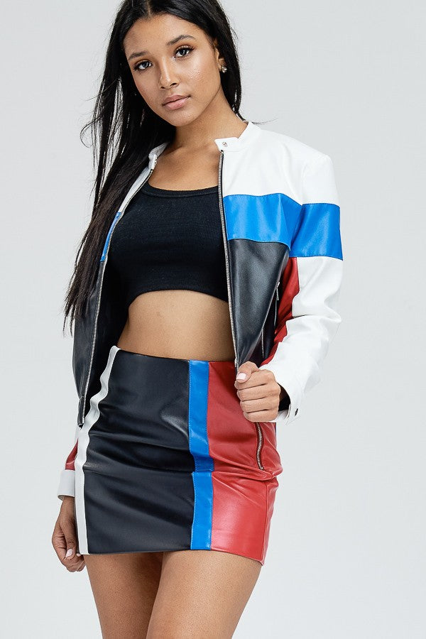 Tokyo Drift Faux Leather Moto Jacket in Black Multi | Necessary Clothing