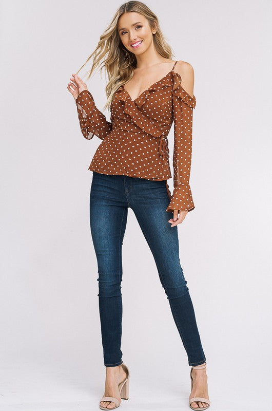 Keep It Flowing Cold Shoulder Top in Cocoa