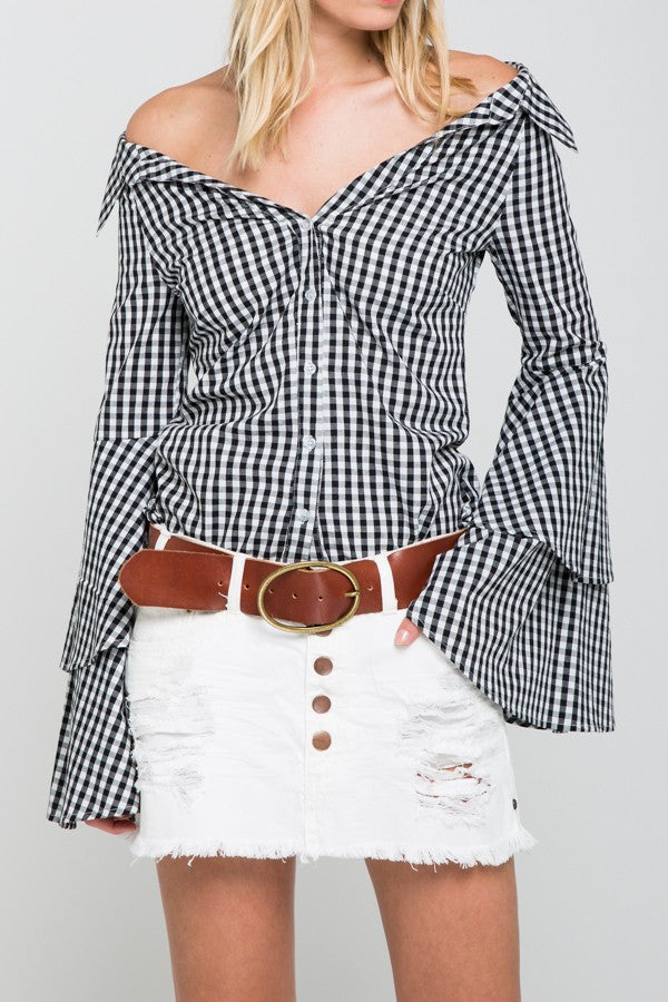 Bare Belle Check Print Top in Black