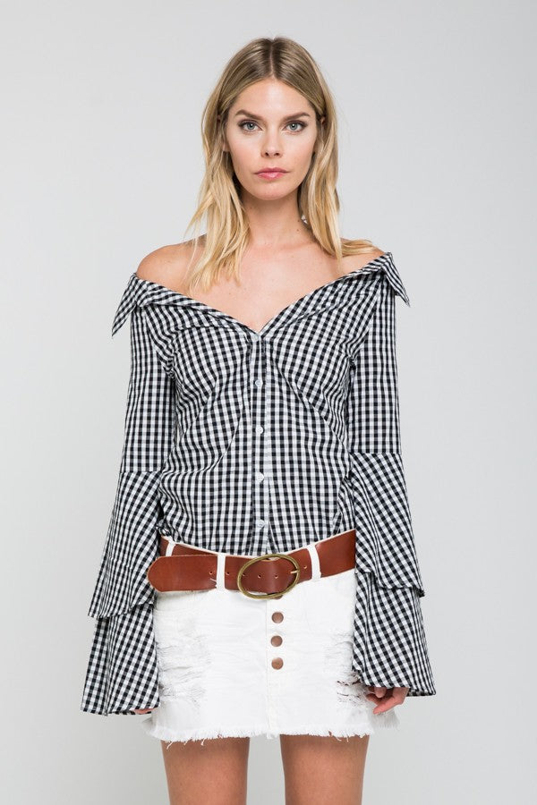 Bare Belle Check Print Top in Black | Necessary Clothing