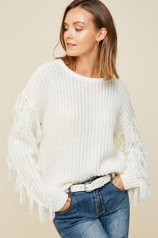 On The Fringe Sweater in Cream | Necessary Clothing