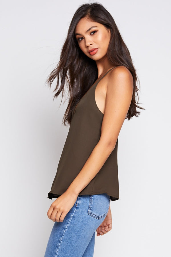 Shut Your Strap Cami Top in Dark Olive