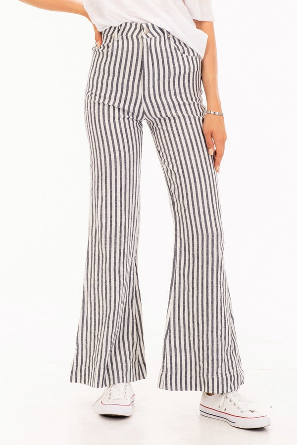 Let's Cruise Together Striped Bell Pants in Navy Blue