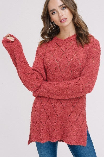 Lie Like A Rug Sweater in Rose