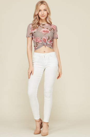Knot your Average Floral Crop Top in Taupe | Necessary Clothing