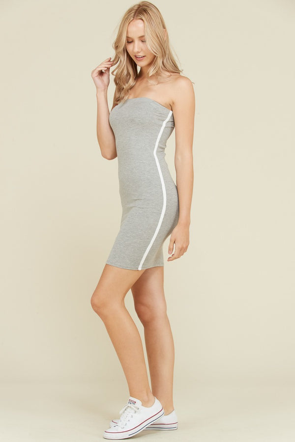 Side Stripe Tube Dress in Heather Grey | Necessary Clothing