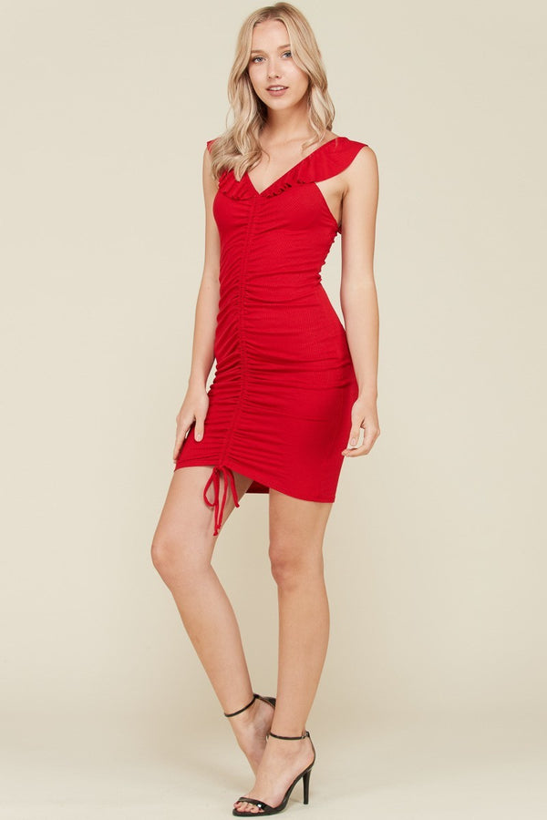 Ruffle Ruched Front Rib Dress in Red | Necessary Clothing