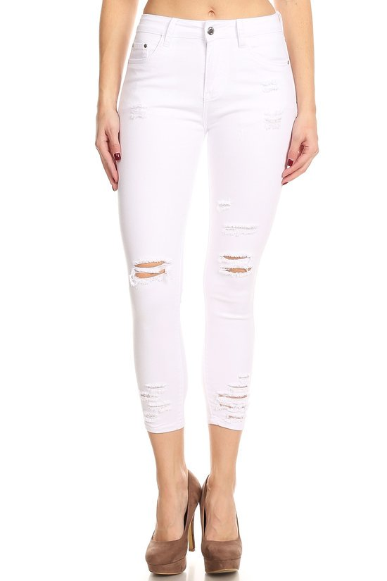 Smooth Criminal Cropped Jeans in White | Necessary Clothing