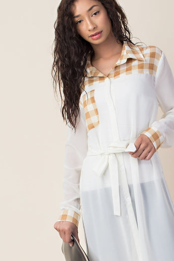 Downtown Sheer Plaid Long-Sleeve | Necessary Clothing