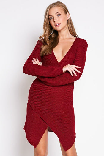 Autumn Chill Sweater Dress in Burgundy | Necessary Clothing