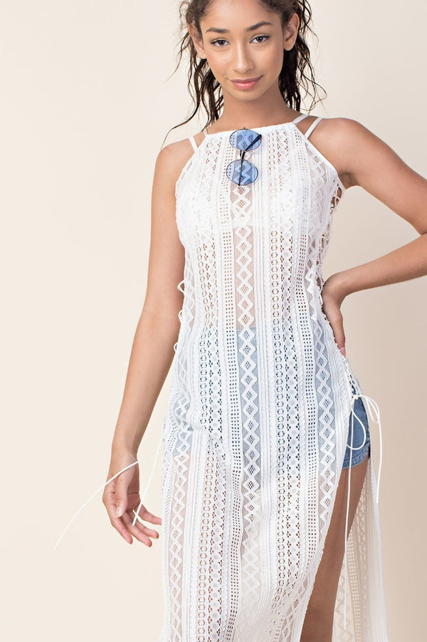 At Your Own Lace Cover-Up In White | Necessary Clothing