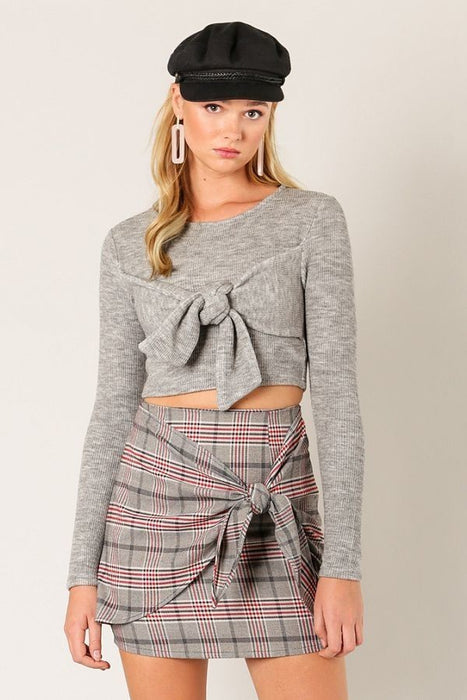 Can Knot Even Crop Sweater in Grey