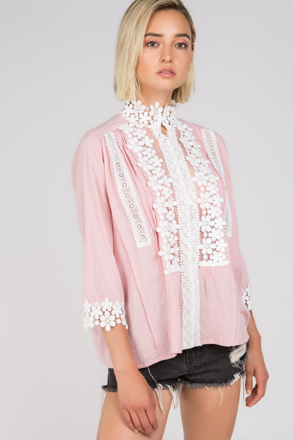 Queen Anne's Lace Blouse in Pink | Necessary Clothing