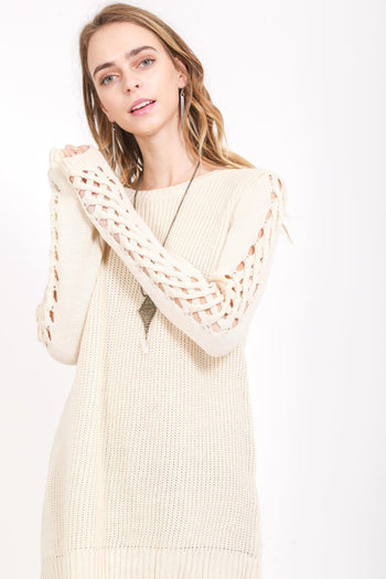 Cross My Path Long Sleeve Sweater in Cream