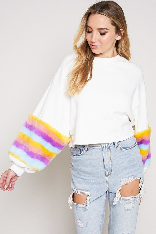 Prism Fur Sleeve Sweatshirt in Ivory