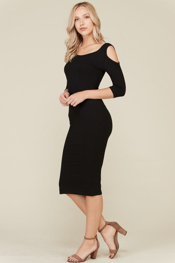 Cut It Out Cold Shoulder Dress in Black