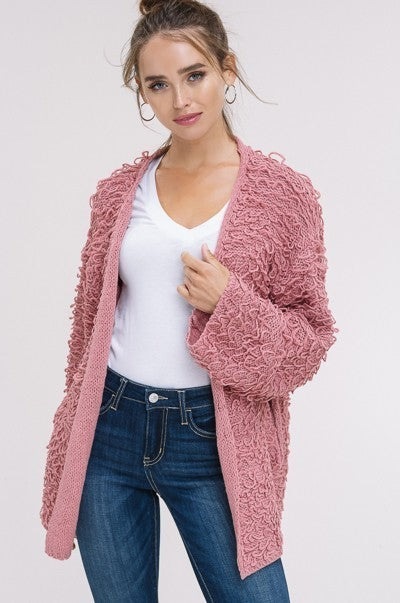 Shaggy Dog Cardigan in Pink | Necessary Clothing