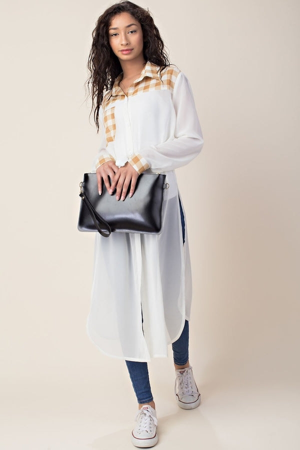Downtown Sheer Plaid Kimono in White | Necessary Clothing