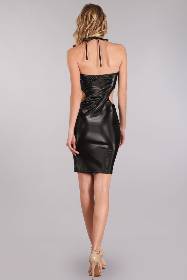 Pleather Pleasure Mini Dress in Black | Necessary Clothing