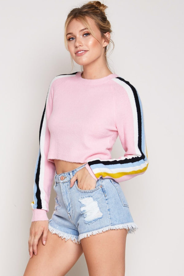 Furry Color Lines Sweater in Pink| Necessary Clothing