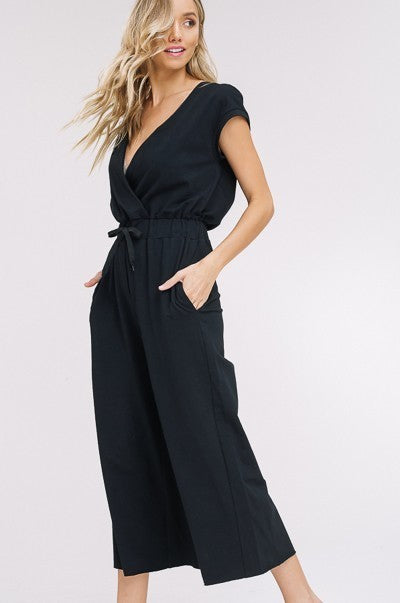 Keep is Casual Sweat V-Neck Culottes Jumpsuit in Black | Necessary Clothing