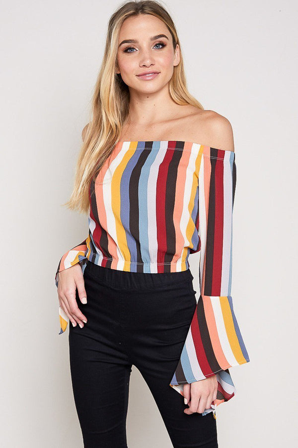 Bold Lines Bell Sleeve Top in Multi
