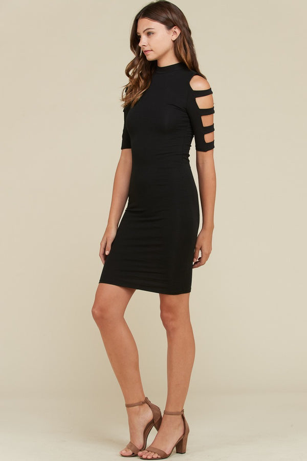 Ladder Detail Bodycon Dress in Black