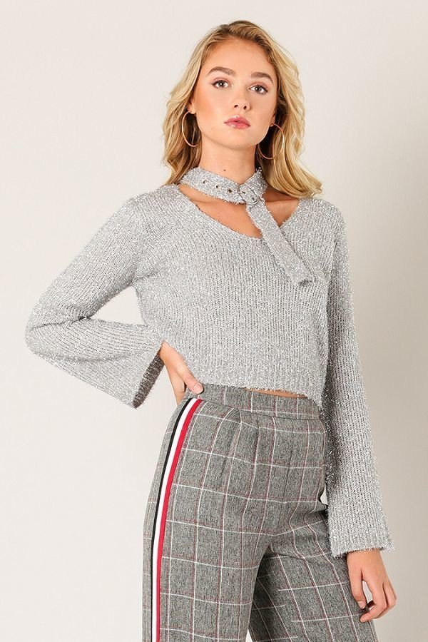 Notch In Your Belt Sweater in Silver | Necessary Clothing