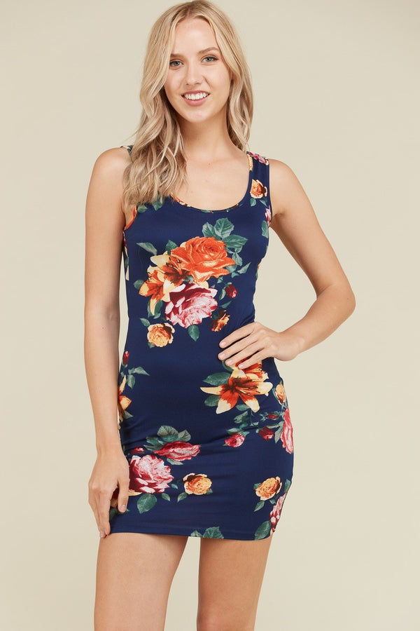 Flower Power Midi Dress in Navy | Necessary Clothing
