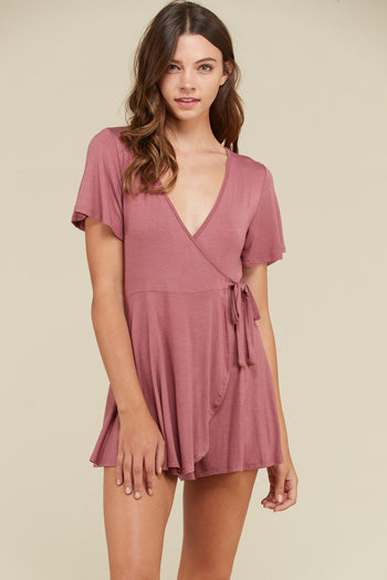 Little Ruffle Romper in Rose