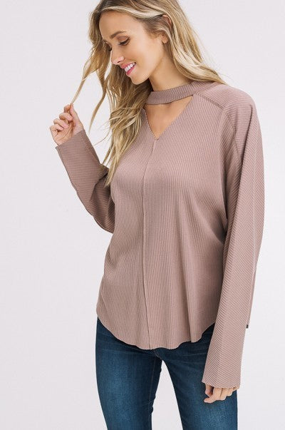 Cutout Cozy Choker Knitted Shirt in Mocha | Necessary Clothing