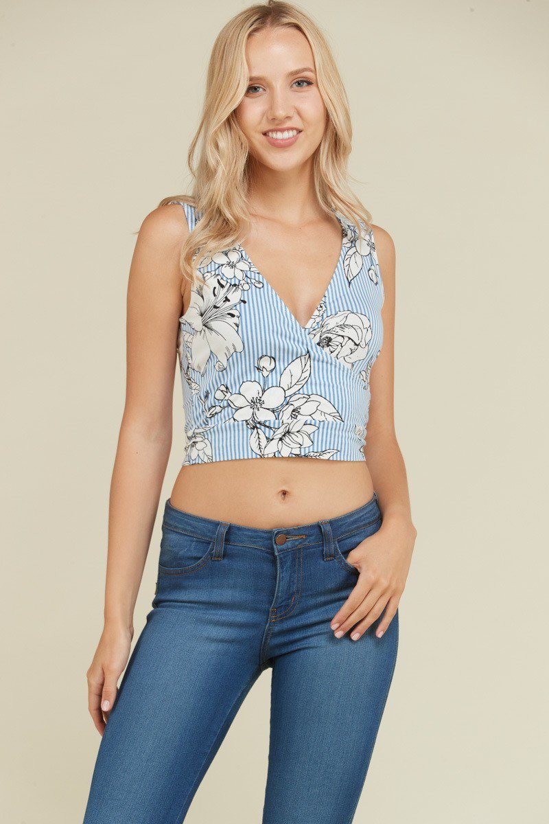 Striped Floral Crop Top in Chambray Blue