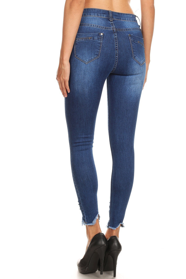 Cut To The Chase Denim Cropped Skinny Jeans in Blue
