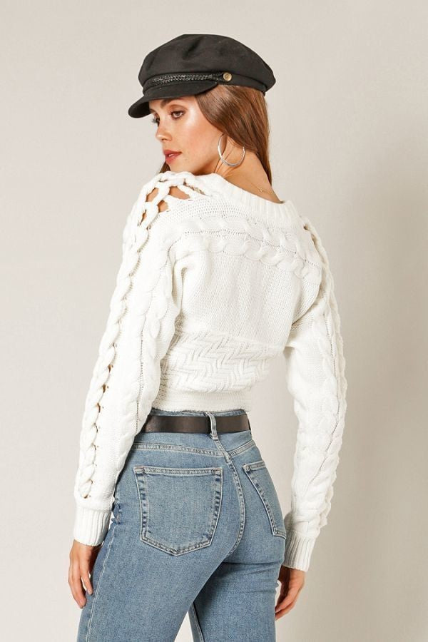 Switch To Cable Crop Sweater in Ivory | Necessary Clothing