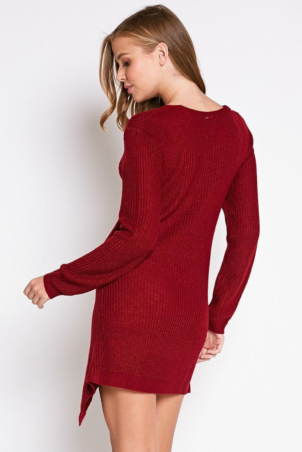 Autumn Chill Sweater Dress in Burgundy