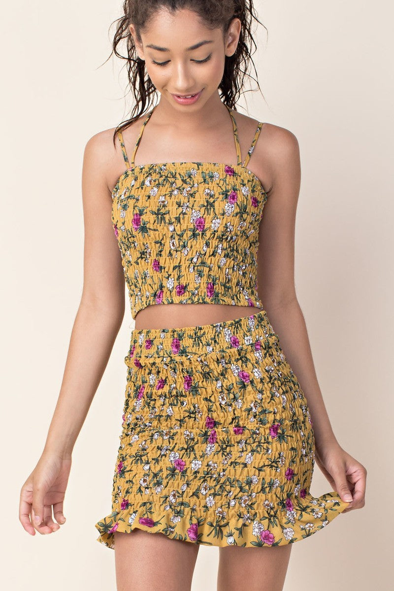 Ruffled Flowers Matching Skirt Set in Mustard