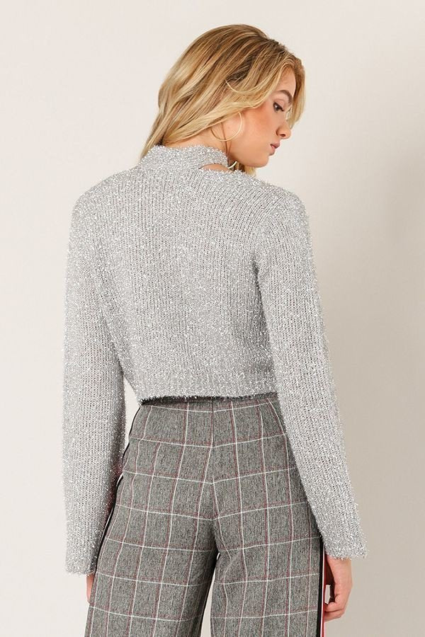 Notch In Your Belt Sweater in Silver