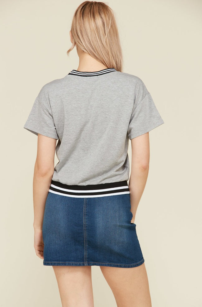 Be a Good Sport Heather Gray Striped Tee in Heather Gray | Necessary Clothing