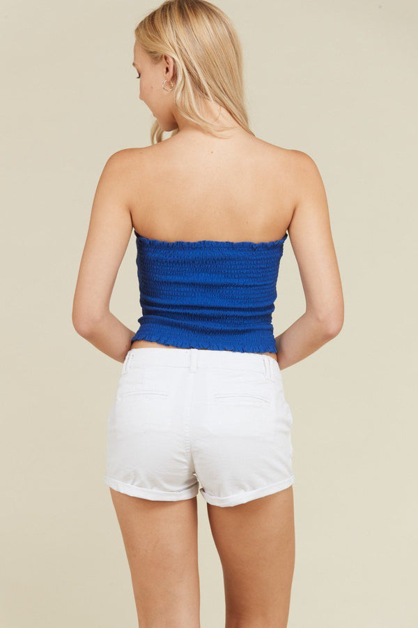 Front Ruched Tube Top in Royal Blue